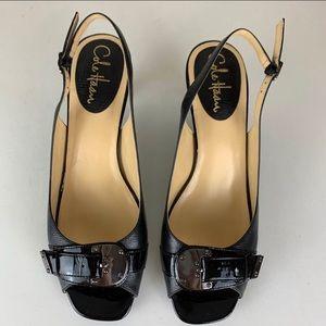 Cole Haan Eliana Snake Leather Peep Toe Heels